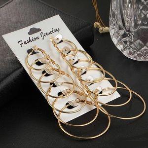 Set of 6 Gold Hoop Earrings